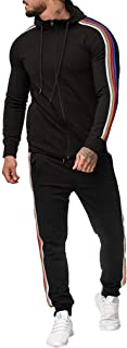 LENXH Men's Suit Zipper Top Stitching Sweater Long Sleeve Sports Suit Hooded Shirt Solid Color Trousers