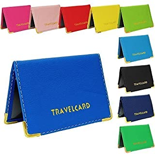 Blue Soft Leather Travel Card Bus Pass Credit Card ID Card Wallet Cover Case Holder by TICHI