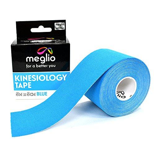 Bande Taping de Kinésiologie non découpée Latex Free MEGLIO – Bandes Médicales non-découpée Strapping Soutien Musculaire – Kinésio Tape - Kine Tape Professionnel 5cm x 5m (Bleu)