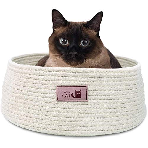 Cat Bed Basket Nest Grey Round Fun Cotton Rope Washable, Pet Cats Rest...