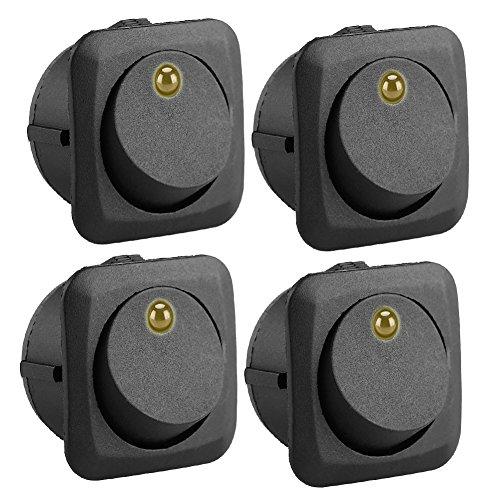 Qiilu 12V 25A Round Rocker interruptor de conmutación LED On-Off de control amarillo SPST para todos los coches Auto Barco 4Pcs