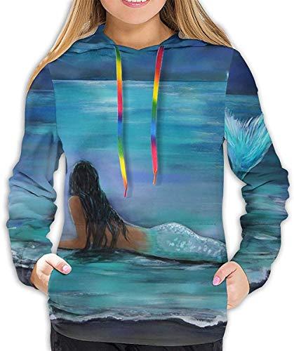 YAOMY Sweatshirts Pullover für Mädchen und Frauen, lustig Coole Streetwear Gr. XL, Gemälde Meerjungfrau unter dem Meer