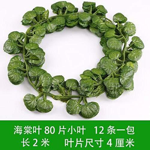 Simulación hoja de uva ratán hojas falsas decorativas enredadera hojas verdes tubo de ratán decoración de techo flor falsa vid 2m 81 piezas hoja de loto (12 piezas)