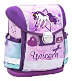 Belmil Ergonomische Schulranzen Mädchen 1. klasse 2. klasse 3. klasse - Super Leicht 900-960 g/Grundschule/Einhorn Unicorn/Lila, Pink (403-13 Unicorn)