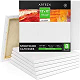 Arteza 12x12 Inch Stretched Canvas, Classic Pack of 8, Primed, 100% Cotton, Art Supplies for Painting, Acrylic Pouring, Oil Paint & Wet Art Media, Canvases for Artist, Hobby Painters & Beginner