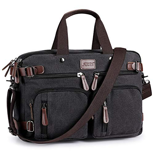 S-ZONE 3-Way Convertible Backpack Messenger Bag 15.6 Inch Laptop Briefcase