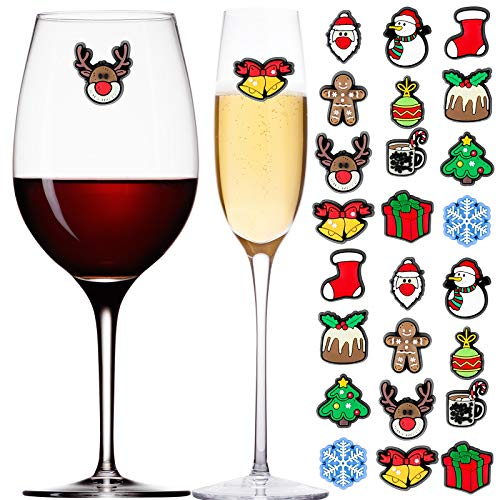 Aneco 24 Pieces Christmas Magnetic Wine Glass Charms Cocktail Markers Christmas Wine Glass Drink Markers Glass Goblet Drink Markers for Christmas Party