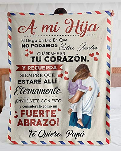 Personalized Blanket-Personalized Carta A Mi Hija Te Quiere Papa| Fleece Sherpa Woven Blankets| Gifts for Daughter, Regalo para Hija-Absolutely
