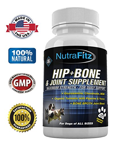Hip Bone and Joint Supplement for Dogs -Glucosamine Chondroitin for Dogs, MSM, Organic Turmeric - Arthritis Pain Relief, Hip Dysplasia, ACLs - Best Dog Joint Supplement for Joint Support - 120 Tablets