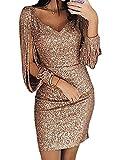 Minetom Robe Femme Couleur Unie Robe Soirée Manches Longues à Franges Robe Cocktail Col Rond Robe Moulante à Paillettes Sexy Slim S/M/L/XL Gold DE 38