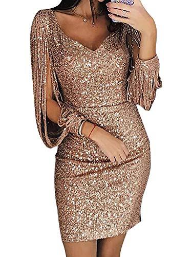 Minetom Robe Femme Sexy Slim Couleur Unie Robe Soirée Manches Longues à Franges Robe Cocktail Col V Robe Moulante à Paillettes Gold DE 36