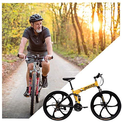 DAOT Adult Mountain Bike, 26 inch, Mountain Trail Bike High Carbon Steel Mountain Bike Shimanos, 21-Speed Bicycle Full Suspension MTB Gears Dual Disc Brakes Mountain Bicycle (Yellow)