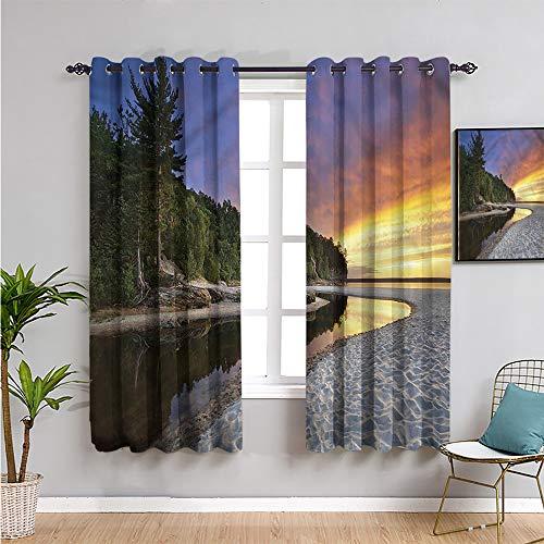 Pcglvie Cortina opaca de paisaje, cortinas de 182,88 cm de longitud al atardecer y mar ondulado, cortina de baño de 182,88 cm de ancho x 182,88 cm de largo