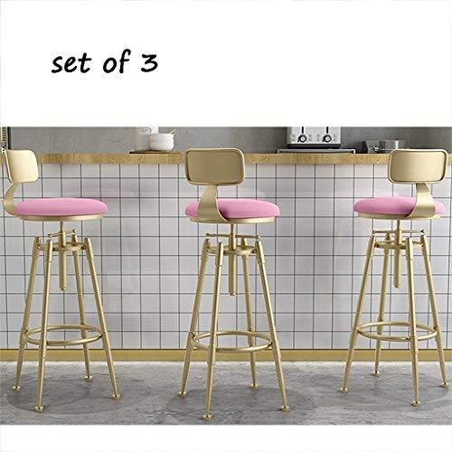 CHAIR Silla Bar, cafetería, silla de restaurante, juego de 3 piezas Silla de taburete de bar Cocina de tendencia y desayunador, con reposapiés y amplificador; Espalda, cojín de terciopelo, ajustable