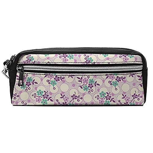 Estuche de cuero para cosméticos, bolsa multiusos con cremallera de metal, tamaño de bolsillo, lápiz cosmético, pincel Paisley12, Black-pink Flower10, 20*10*5.5,
