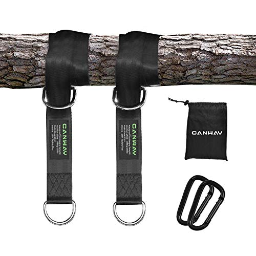 CANWAY Set of 2 Tree Swing Straps Hanging Kit Holds Max 2200 LB with Two Heavy Duty Carabiners (Stainless Steel) - Camping Hammock Accessories(1.5 Meters)