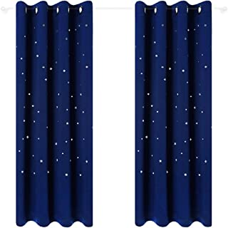 Anjee Starry Sky Blackout Curtains for Kid's Room, Space Themed Drapes for Nursery (Royal Blue, W52 x L95 Inches)