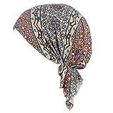 Vobony Mujer Gorros Oncologicos Dormir Suave Moda Pañuelo de Cabeza Algodón Pañuelo Turbante de Quimio Gorra Beanie para Pèrdida de Pelo Cáncer Chemo Noche