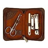 Cortauñas Set de manicura 5 en 1 Kit de pedicura de acero inoxidable Professional Clavos de uñas Herramientas de cuidado de uñas, kit de aseo con tijeras para el cabello de la nariz (Negro/Rown) Jue