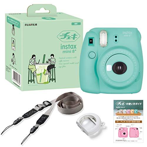 FUJIFILM インスタントカメラ チェキ instax mini8プラス 接写レンズ・純正ショルダーストラップ付き ミント 60cmから撮影可能、(接写レンズ使用時35cm-50cm) INS MINI 8PLUS MINT