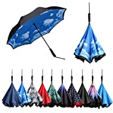 BAGAIL Double Layer Inverted Umbrellas Reverse Folding Umbrella Windproof UV Protection Big Straight Umbrella for Car Rain Outdoor with C-Shaped Handle (Sky-Straight Handle)