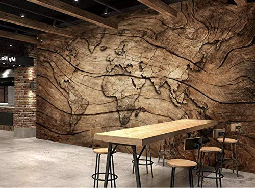 Murwall Map Wallpaper Wood World Map Wall Mural Vintage Map Wall Art Map Retro Wall Decor Cafe Design Living Room Bedroom Entryway