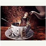 YYTTLL caffè Donna Tazza 5D Pittura Diamante DIY Kit Punto Croce Ricamo Castello Diamante Rotondo Mosaico Cristallo Incompiuto- Senza Cornice 40X50Cm