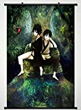 Home Decor Cute Anime Art Cosplay Poster with Ghibli My Neighbor Totoro Mei Satsuki Totoro Forest Sky Moon Grass Clouds Hayao Miyazaki Wall Scroll Poster Fabric Painting 24 X 36 Inch (60cm X 90 cm)