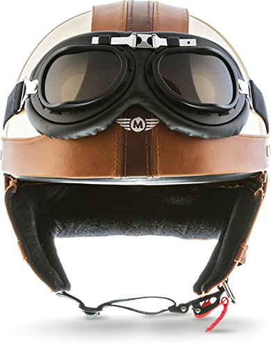 "Moto Helmets® D22-Set ""Vintage Creme"" · Brain-Cap · Halbschale Jet-Helm Motorrad-Helm Roller-Helm Scooter-Helm Bobber Mofa-Helm Chopper Retro Cruiser Vintage Pilot Biker Helmet Brille · L (59-60cm)"
