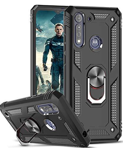 LeYi für Motorola Moto G8 Power Lite Hülle,360 Grad Ring Halter Handy Hüllen Cover Magnetische Schutzhülle Bumper für Hülle Motorola Moto G8 Power Lite Handyhülle Schwarz