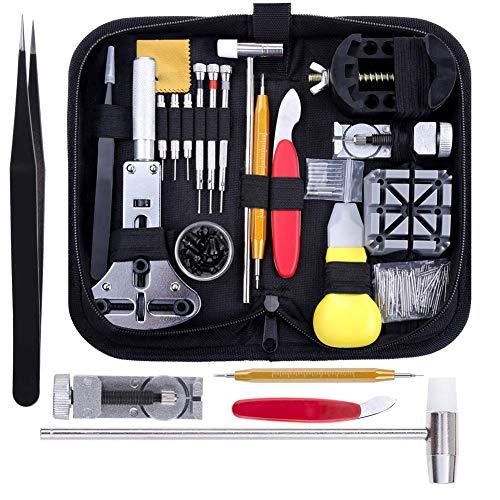 Kit de herramientas de reparación de relojes, color negro, profesional, para barra de resorte, pasador de repuesto, con funda de transporte, 151 unidades