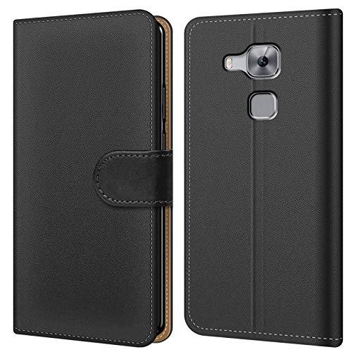 Conie BW10167 Basic Wallet Kompatibel mit Huawei Nova Plus, Booklet PU Leder Hülle Tasche mit Kartenfächer & Aufstellfunktion für Nova Plus Case Schwarz