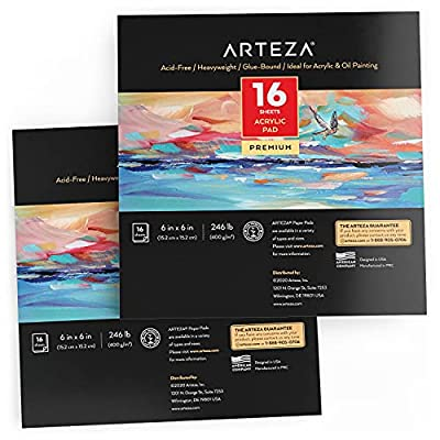 Arteza Acrylic Pad, Pack of 2, 6 x 6 Inches, 16 Sheets Each, Painting & Drawing Pad with Thick 246-lb Paper, for Acrylic Painting, Oil Painting, & Drawing