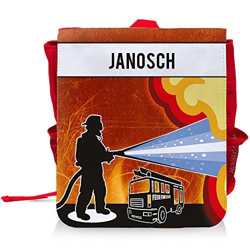 Kinder-Rucksack mit Namen Janosch und schönem Feuerwehr-Motiv für Jungen