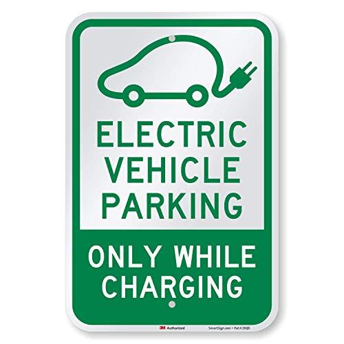 "SmartSign - K-8559-EG-12x18 ""Electric Vehicle Parking Only"" Sign   12"" x 18"" 3M Engineer Grade Reflective Aluminum 12"" x 18"" 3M EG Reflective Aluminum"
