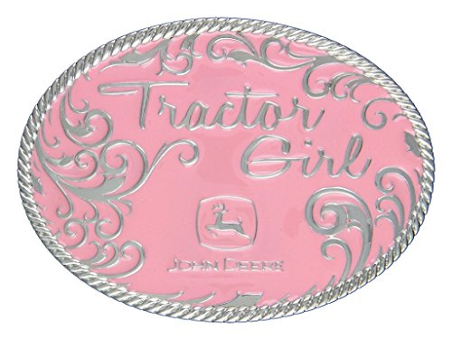 "Montana Silversmiths John Deere Tractor Girl In Pink Attitude Buckle - Pink - 4"" X 3"""