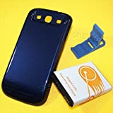 7300mAh Extended Battery + Black Cover + Folding Bracket - Dark Blue for Verizon Samsung Galaxy S III S3 I9300 SCH-i535 Cellphone