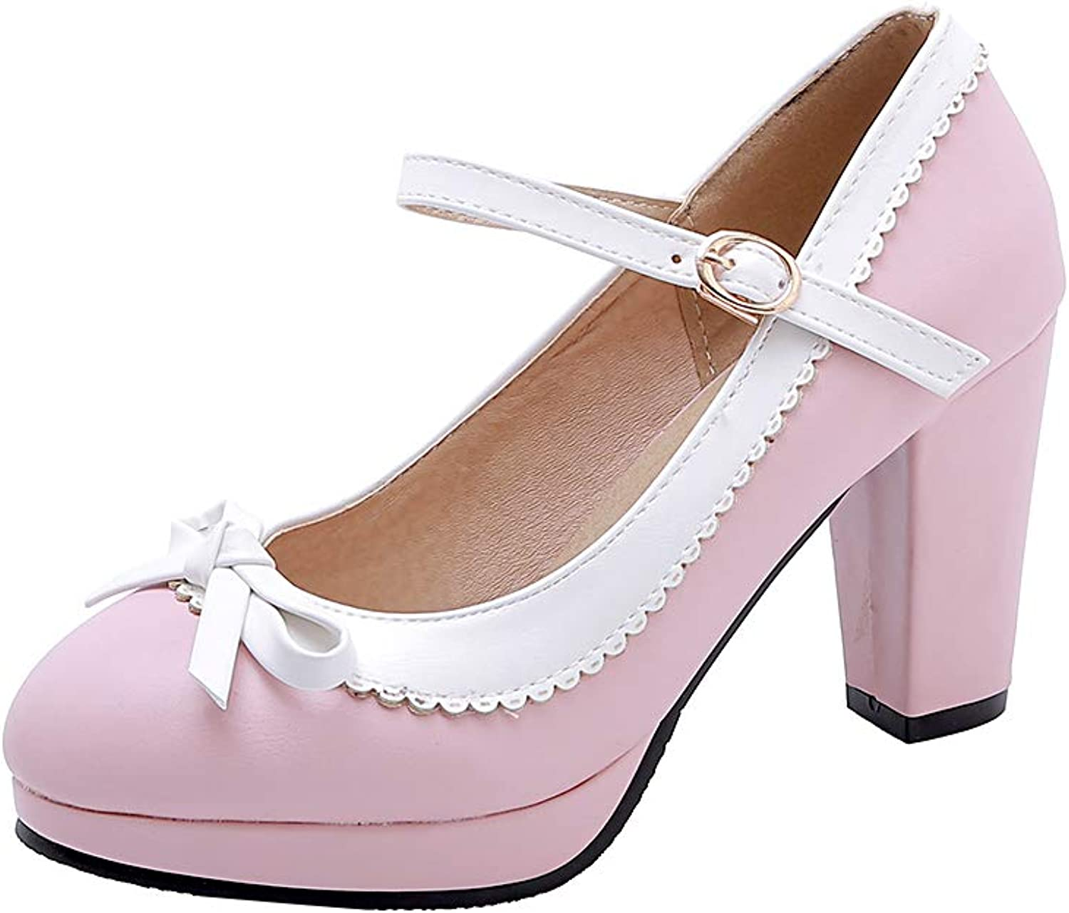 HILIB Woman's High Heel Tea Party shoes Cute Bowknot Mary Jane shoes