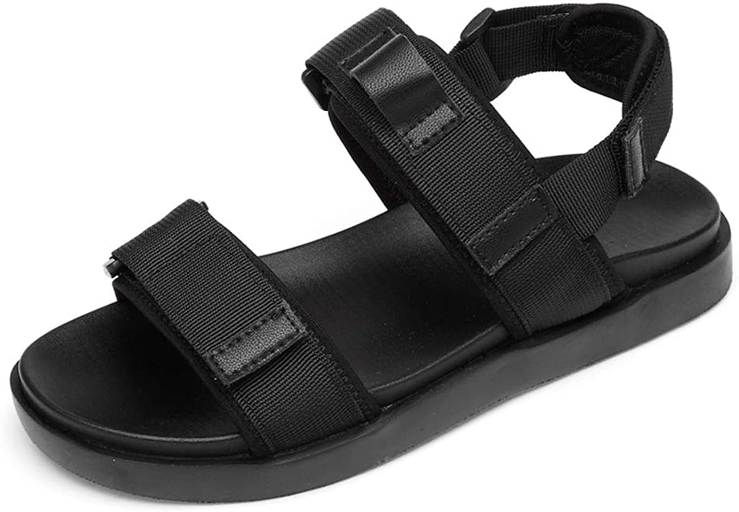 Easy Go Shopping Beach Sports Sandals for Men Hook & Loop Strap Nylon Tape Open Toe Water Flat shoes Cricket shoes (color   Black, Size   9 UK)