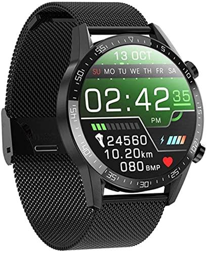 Reloj inteligente Bluetooth Manos Libres Llamadas Smartwatch ECG Teléfono Reloj Hombres Mujeres Deporte Fitness Pulsera Reloj Para Android Apple Xiaomi Huawei-Metal Correa