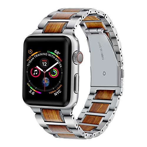 Libra Gemini for Apple Watch Band 42mm 44mm Wood iWatch Band for Steel Wood Replacement Strap with Stainless Steel Metal Clasp for Apple Watch Series/3/2/1