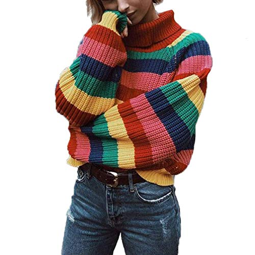 Womens Long Sleeve Striped Rainbow Striped Top Turtleneck Knitted Sweater Jumper Shirt