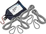 SEILFLECHTER - Juego de 4 cabos de amarre Taifun® | con ojos de 40 cm empalmados y aparejados en gris plata, Ø 12 mm, 2 x 10 m & 2 x 6 m