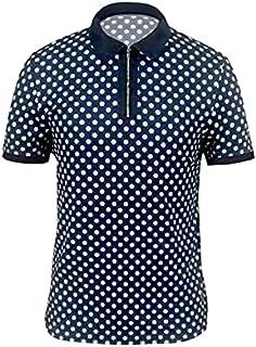 Fbnzmluqdx Tshirt for Men Men's Casual T-Shirts Summer Tee Zipper Turn-Down Collar Tshirt Tops Polka Dot Print Polos Shirt...