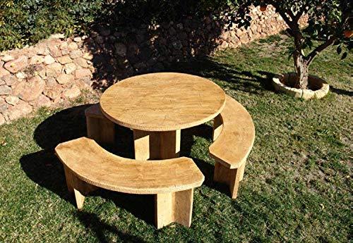 DEGARDEN Conjunto de Mesa Comedor Mara Redonda 115cm. y Bancos para jardín o Exterior de...