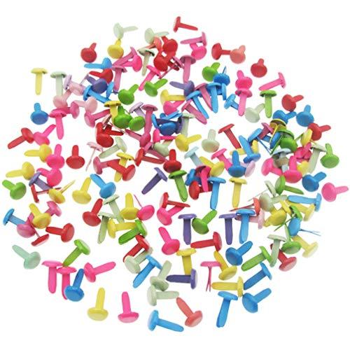 Supvox 500 piezas coloridas mini clavitos sujetadores de papel redondo latón pastel metal brads para scrapbooking manualidades papel de bricolaje (multicolor al azar)