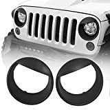 Hooke Road Black Angry Bird Headlight Bezels Cover Trim for 2007-2015 Jeep JK Wrangler & Unlimited - Pair