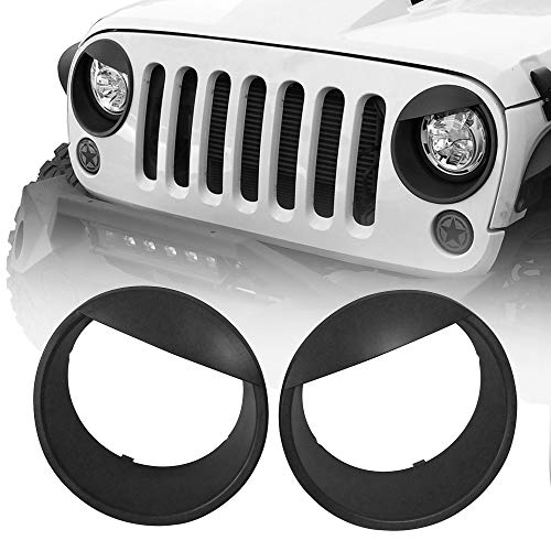 Hooke Road Wrangler Angry Bird Headlight Bezels Cover Trim Matte Black for 2007-2015 Jeep JK Wrangler & Unlimited - Pair