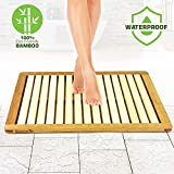 Bathroom Bath Mat Bamboo Wood - Shower Floor Foot Rug or Heavy Duty Natural with Elevated Design for Water Evaporation...