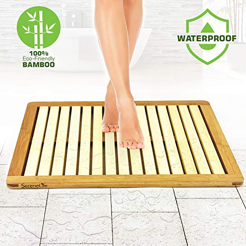 SereneLife Bamboo Wood Bathroom Bath Mat - Heavy Duty Natural or Shower Floor Foot Rug with Elevated Design for Water Evaporation and Non Slip Rubber Feet for Indoor Outdoor Use SLFBMT10